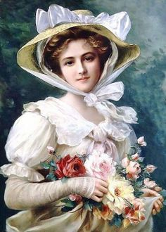 Elegant Lady With A Bouquet Of Roses by Emile Vernon Handmade oil painting reproduction on canvas for sale,We can offer Framed art,Wall Art,Gallery Wrap and Stretched Canvas,Choose from multiple sizes and frames at discount price. Images Vintage, Vintage Art, Vintage Ladies, Vintage Woman, Vintage Prints, Victorian Paintings, Victorian Art, Victorian Women, Vernon