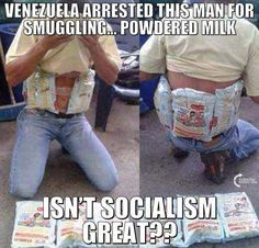 When socialism takes over it becomes necessary to smuggle. -Young Conservative WWW.NET this is socialism people! Liberal Hypocrisy, Liberal Logic, Socialism, Communism, Political Memes, Political Views, Political Topics, Pseudo Science, Venezuela