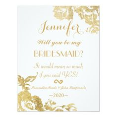 Elegant Simple Modern Rose Floral Gold Faux Print 4.25x5.5 Paper Invitation Card