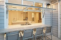 Flip Out Window w/Fixed transom Kitchen Bar, Indoor Outdoor Kitchen, Custom Kitchens, Indoor Bar, Window Bars, Bars For Home, Pass Through Kitchen, Outdoor Kitchen Bars, Kitchen Window Design