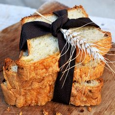 Rustic sliced bread, the ribbon and wheat stalk.  #bywstudent