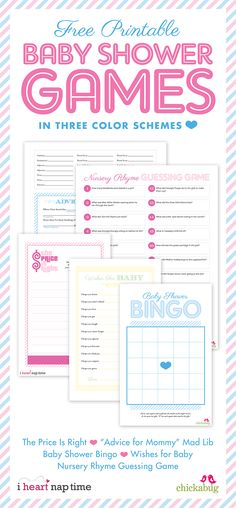 Five FREE printable baby shower games in 3 different  colors! #baby