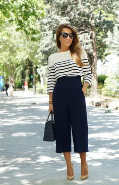Stripes, Culottes, Heels Nautical outfits. Visit www.ofvogueandrestraint.wordpress.com for tips on how to revamp and upgrade your wardrobe.