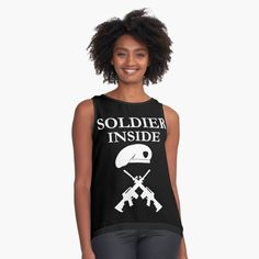'Soldier Inside - ready for war - ' Sleeveless Top by RIVEofficial Chiffon, Trends, T Shirts For Women, Tank Tops, Stuff To Buy, Accessories, Shopping, Collection, Design