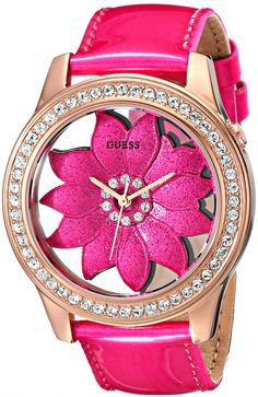 Guess Women'S U0534L3 Pink Floral Watch With Rose Gold-Tone Case & Genuine Patent Leather Strap
