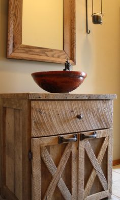 YOUR Custom Rustic Barn Wood Vanity or Cabinet with 2 Barn Style Doors and Barn wood Counter 375.00