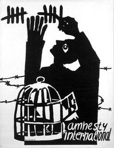 Amnesty posters: 1969 GENERAL Amnesty International Poster, Prisoner of Conscience, 1969 (Netherlands) Designed by Joop Lieverst, a General Amnesty International poster depicting a Prisoners of Conscience Protest Kunst, Protest Art, Graphic Design Posters, Graphic Design Illustration, Graphic Design Inspiration, Graphic Art, Protest Posters, Political Posters, Amnistie International