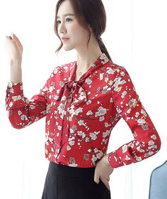 Free Shipping Korean New Arrival Bowknot Tie All Matching Flower Printed Long Sleeve Woman Chiffon Blouse Red