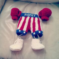 Crocheted newborn Photo shoot 'Rocky' set with boxing gloves, trunks and booties on Etsy, $47.85