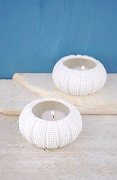 Ceramic Sea Urchin Tealight Holders (Set of 2)