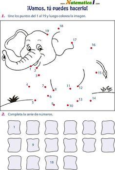 Animal Worksheets, 1st Grade Worksheets, Tracing Worksheets, Kindergarten Worksheets, Preschool Art, Preschool Activities, Number Writing Practice, Dot To Dot Printables, Elephant Theme