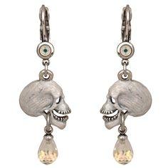 Laughing Skull Leverback Earrings (Antique Silvertone)