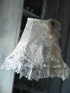 Shabby Chic Layers of Lace Pendant Lamp from www.mysistersgarage.com