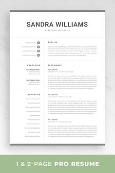 resume template 1 and 2 page resume modern cv template for word