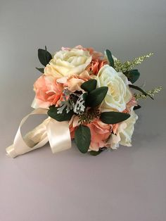 Peach wedding bouquet, Peach/pink wedding bouquet, Wedding bouquet peach, Coral wedding bouquet, Wedding bouquet, Peach bridal bouquet Corsage And Boutonniere, Groom Boutonniere, Silk Wedding Bouquets, Bridesmaid Bouquet, Made Of Honor, Ivory Roses, Silk Flowers, Special Day, Floral Wreath