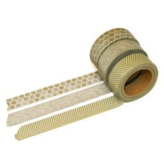 Gold Washi Tape Set - Set of Three - Hexagon, Crosshatch Weave, Herringbone