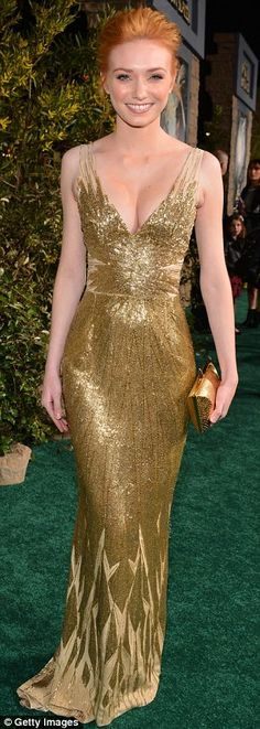 Eleanor Tomlins shimmered in a gold gown at Jack The Giant Slayer premiere