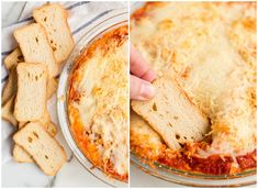 Dish out Chicken Parmesan Dip at your game-day party, and enjoy a little taste of Italy right in your living room. Everyone will love this cheesy dip! Family Fresh Meals, Easy Family Dinners, Quick Easy Meals, Family Recipes, Yummy Chicken Recipes, Easy Recipes, Veggie Chips, Clean Eating Snacks, Dip Dip