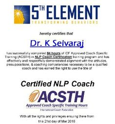 Congratulations Dr K Selvaraj, Prominent Psychiatrist & Founder of Vazhikatti group of Mental Health Institutes  On successfully completing the tough assignments & receiving your ICF Approved (ACSTH) NLP Coach Certification  High Standards & Quality in NLP Training from Anil Dagia - India's Most Innovative NLP Trainer  Next ICF + NLP MASTER PRACTITIONER - DUAL Certification Life Coach Training (India) Pune - JULY :- http://www.anildagia.com/events/260