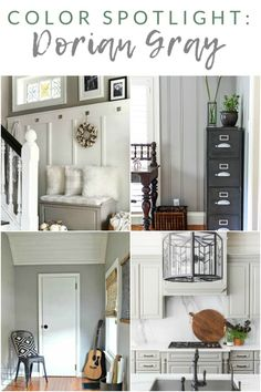 Sherwin Williams Dorian Gray SW 7017 - My Favorite Paint Colors - The Crazy Craft Lady Gray Shiplap, Gray Bedroom Walls, Grey Bedroom Paint, Gray Cabinet Color, Mindful Gray Sherwin Williams, Grey Wall Color, Grey Paint Living Room, Grey Exterior, Grey Painted Bed