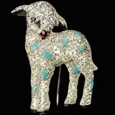 Trifari 'Alfred Philippe' 'Odds of March' Pave and Enamel March Lamb Pin Clip, designed by A. Philippe, 1939