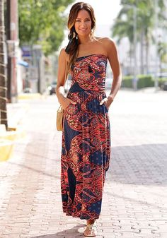 acbb6b8a44d0 Paisley Bandeau Maxi Casual Summer Beach Dress, Sundress, Red & Navy Blue,  Size 6