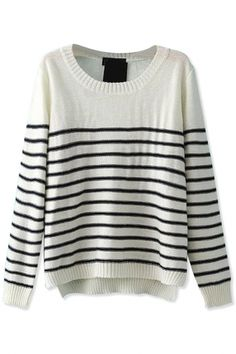 Demure Striped High-Low White Knit Sweater
