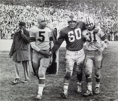 Philadelphia's Chuck Bednarik, center, with Green Bay's Paul Hornung, left, and Jim Taylor after the Eagles' victory over the Packers in the N. championship game on Dec. at Franklin Field. Nfl Football Players, Packers Football, Football Memes, College Football, Sport Football, Vikings Football, Browns Football, Football Stuff, Minnesota Vikings