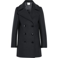M.i.h Jeans Wool-blend peacoat (18,080 INR) ❤ liked on Polyvore featuring outerwear, coats, navy, double breasted pea coat, slim fit pea coat, navy double breasted coat, navy pea coat and wool blend coat