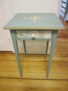 Nautical table makeover with painted compass rose and map decoupage on drawer, plus monkey knot pull. Nautical table makeover with painted compass rose and map decoupage on drawer, plus monkey knot pull. Nautical Furniture, Nautical Table, Repurposed Furniture, Painted Furniture, Furniture Projects, Furniture Makeover, Diy Furniture, Furniture Refinishing, House Furniture