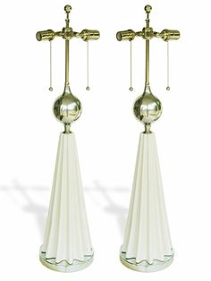 MID CENTURY PAIR OF LAMPS IN THE STYLE OF TOMMI PARZINGER - $1100.