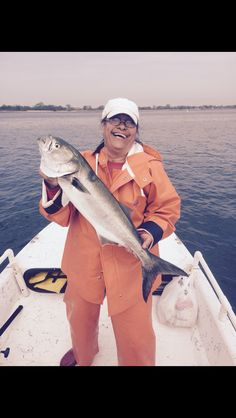 Props to my Mom !! Still Cranking up those Big East Coast Bluefish !!! Way to go  #fishermom #greatgrandma #todayscatch