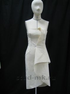 Mock up Moulage of asymmetrical dress Blog Couture, Couture Mode, Couture Fashion, Dress Sewing Patterns, Clothing Patterns, Moda Origami, Draping Techniques, Sewing Techniques, Pattern Draping