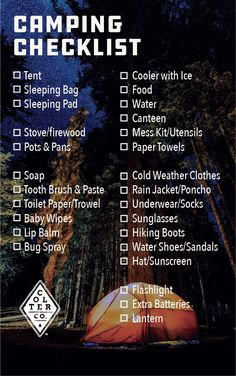 What to take camping? Here's a good list of essential camping items. Don't go on your next camping trip underprepared! Having a good pack list is a great camping hack. More outdoors skills and gear here https://www.coltercousa.com