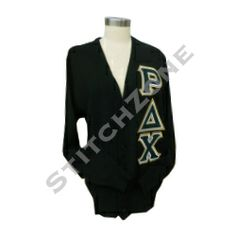 Rho Delta Chi Letterman Cardigan starting price at $40 #rhodeltachi #sorority #stitchzone #embroidery #greeklife #greekletters #customdesign #cardigan #letterman