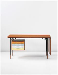 FINN JUHL Desk, model no. BO69, designed 1953. Teak, painted wood, painted tubular steel, brass. Manufactured by Bovirke, Denmark. Retailed by Illums Bolighus, Denmark. / PHILLIPS