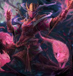 Samurai and Cats – fantasy concept by Jason Nguyen Fantasy Armor, Dark Fantasy Art, Medieval Fantasy, Fantasy Races, Character Concept, Character Art, Concept Art, Character Design, Epic Characters