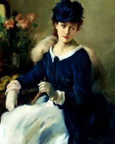 Lady in white-blue dress  - Fernand Toussaint (Belgian, 1873-1955