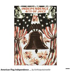 American Flag Independence Bell Fireworks 5x7 Paper Invitation Card
