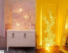 Com luzes de Natal atrás de uma tela branca, obtém-se este belíssimo efeito....