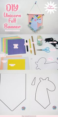 DIY Unicorn Banner Craft - Free Template Included : DIY instructions to make a super cute Unicorn Banner . This banner is great as a kids room decoration or a great decoration for an Unicorn birthday party. Felt Crafts, Easy Crafts, Crafts For Kids, Easy Diy, Paper Crafts, Rock Crafts, Kids Diy, Preschool Crafts, Diy Deco Rangement