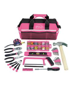 Loving this 201-Piece Pink Household Tool Kit on #zulily! #zulilyfinds