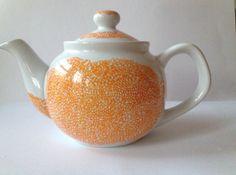 Hand painted teapot, Orange teapot, tea for two, Drawing Love Studio