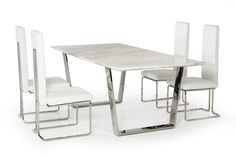 Natural White Marble Top And Chrome Legs Dining Table Dining