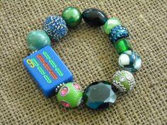 Mah jong Jewelry - Gift For Her - Green and Blue Mahjong Bracelet - Jesse James Beads Bracelet - Mahjong Tile - Gift Idea - Oriental Jewelry by Earmarksdesigns on Etsy