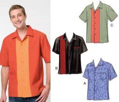 Kwik Sew Men's Novelty Short Sleeved Shirts Pattern from @fabricdotcom  Shirts are design for light weight woven fabrics. Suggested fabrics: Cotton, cotton types, linen, broadcloth, chambray, challis, rayon and blends.  Men's shirts have collar, short sleeves, and side hemline slits. View A has breast pocket. View B has contrast right front inset and breast pocket with contrast band at top edge. View C has contrast center panels. Sizes S-M-L-XL-XXL.<br><a…