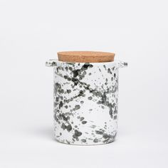 Waggo Ceramic Dog Treat Jar Black and White Splash