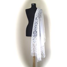 White Lace Bridal Shaw, A lovely Gift for Your Bridesmaids, Lace White... (€13) ❤ liked on Polyvore featuring accessories, scarves, white lace scarves, wrap shawl, white scarves, bridal shawl and tulle shawl