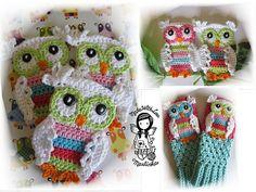 PATRÓN de crochet apliques color buho buho de apliques DIY