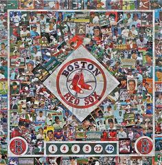Boston Red Sox collage made with chopped up baseball cards, created by LaVern Brock. Really cool! :)